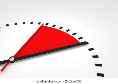 clock with red seconds hand area time remaining 3d illustration
