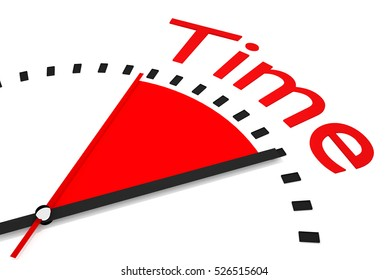 clock with red seconds hand area time 3d Illustration