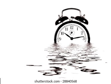 clock reflecting in the water