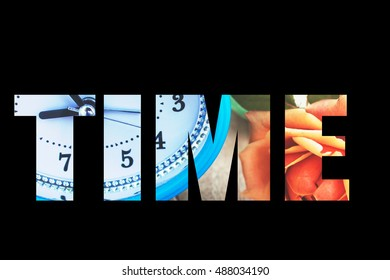clock and rose and word writen time