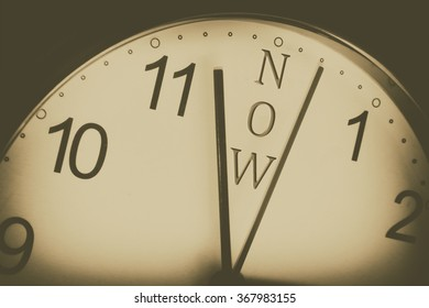 a clock showing that the time is now with retro filter