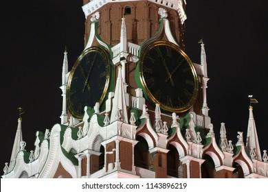 The clock of Spasskaya Tower of Moscow Kremlin