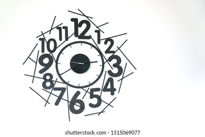 clock stickers on white wall. black sticker time funny clock. diy clock