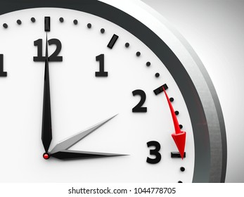 Clock switch to summer time (daylight saving time begins), three-dimensional rendering, 3D illustration
