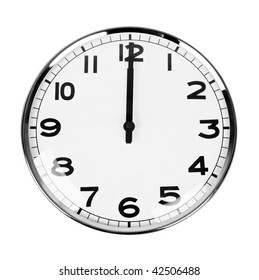 Clock that sign twelve O'Clock isolated on white