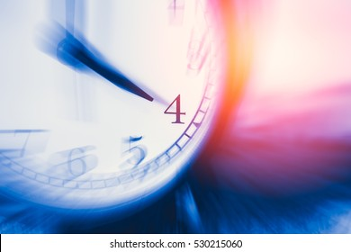 clock time with zoom motion blur focus at 4 o'clock, fast speed business hour concept.