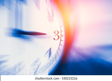 clock time with zoom motion blur focus at 3 o'clock, fast speed business hour concept.
