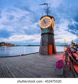 Clock Tower at Aker Brygge in Oslo, Norway