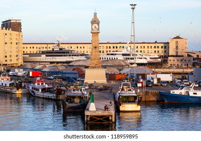 Clock Tower in the Barcelona Harbor, Spain.  At one end of the La Rambla, the Clock Tower is in the Barcelona Harbor.