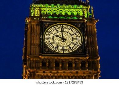 "Clock tower ""Big Ben"" near House of Parliament at night, London, UK."
