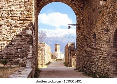 Clock tower of castle in Gjirokaster, Albania
