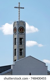 The clock tower of Cathedral of St Joseph, a Roman Catholic cathedral in Sofia, the capital of Bulgaria