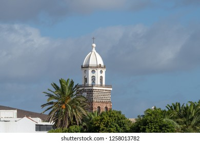 Clock tower of church of the Nuestra Senora de Guadalupe in Teguise, Lanzarote, Canary