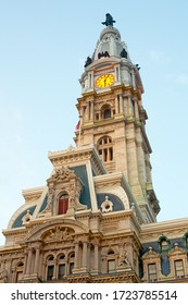 Clock tower of the City Hall building, Philadelphia, Pennsylvania, United States