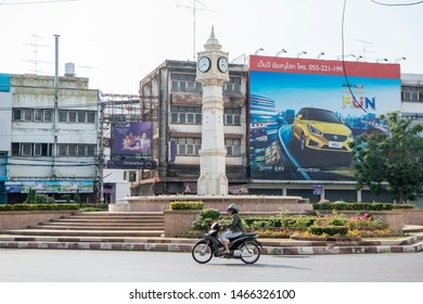the clock tower in the city of  Phitsanulok in the north of Thailand.  Thailand, Phitsanulok, November, 2018.