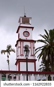 Clock tower in Cuetzalan Del Progreso, Puebla Mexico.