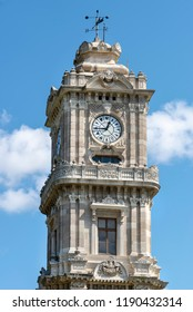 Clock Tower At The Entrance Of Dolmabahce Palace, Istanbul, Turkey