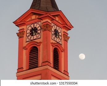 Clock Tower with full moon in germany