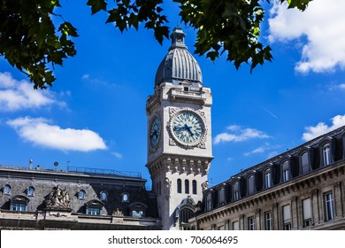 Clock Tower of the Gare de Lyon railway station, one of the oldest and most beautiful railway stations in Paris. France