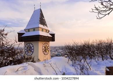 Clock Tower in Graz in Winter