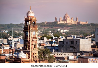 Clock tower known as Ghanta Ghar in Blue city market square in Jodhpur, Rajasthan, India