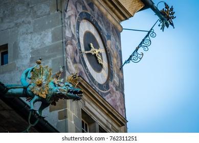 Clock tower in Lausanne on Place de la Palud
