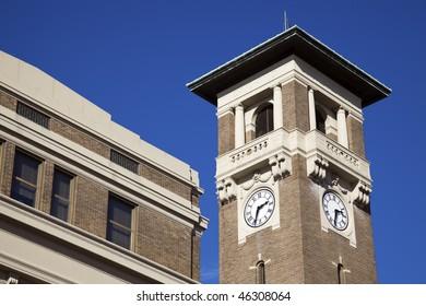 Clock tower in Little Rock, Arkansas. Union Station.