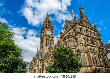 Clock tower of Manchester Town Hall, England.
