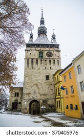 Clock tower in the medieval fortress Sighisoara, Romania