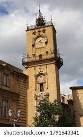 Clock tower of the old city hall of Aix-en-Provence, France