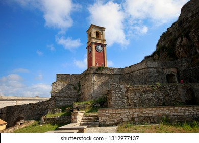 Clock tower in the old fortress of the city of Kerkyra on Corfu island in Greece