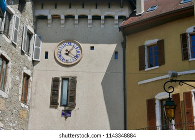 Clock tower in old town Annecy