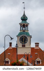 Clock tower of old town hall in Rauma, UNESCO Heritage town, Finland