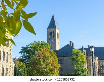 Clock tower on autumn day, Cornell University, McGraw Tower, Ithaca, New York