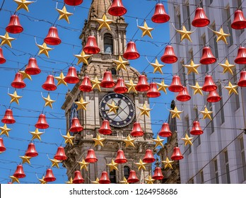 The clock tower on Bourke Street in the center of Melbourne, Australia during Christmas