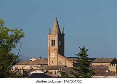 clock tower on the church in the Medieval village of Montecassiano  in the Marches or Le Marche region of central Italy near the town of Macerata after the 2016 earthquake