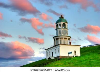 The clock tower on citadel hill, Halifax, Nova Scotia overlooks the Harbour.