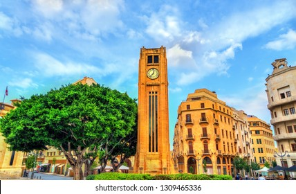 Clock tower on Nejmeh square in downtown Beirut, the capital of Lebanon