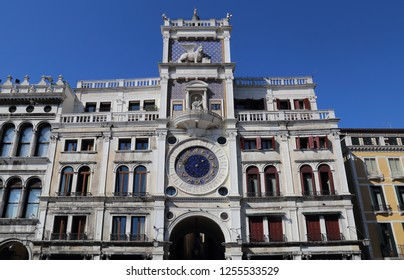 Clock tower on San Marco square in Venice, Italy