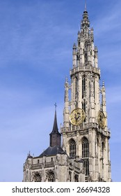 Clock Tower in Our Lady's Cathedral in Antwerp, Belgium