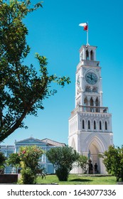 Clock tower of the Plaza Prat in Iquique, Chile with a blue and clear sky. Torre del Reloj Plaza Prat Iquique, Chile.