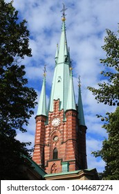 Clock tower of Saint Clare church in Stockholm, Sweden