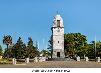 clock tower at Seymour Square in Blenheim town in New Zealand