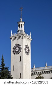 Clock tower at the Sochi Central railway station, South Russia. The clock have a very unusual Zodiac signs