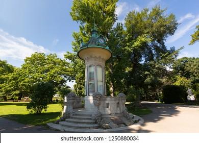 Clock Tower at Stadtpark, City Park in Vienna, Austria during summer season
