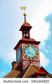 clock tower of the Stein am Rhein town-hall, Schaffhausen, Switzerland