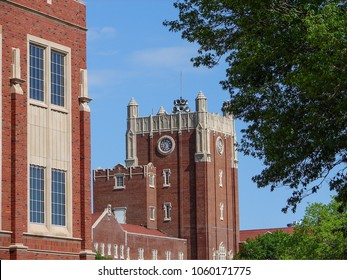 Clock tower at student Union building on University of Oklahoma campus