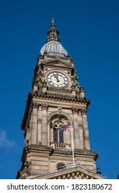Clock tower of the town hall in Bolton Lancashire July 2020