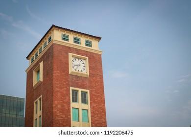 Clock tower vintage in blue sky