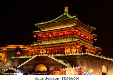 Clock tower, in Xian city, Shaanxi province, China. The Spring Festival in 2019.